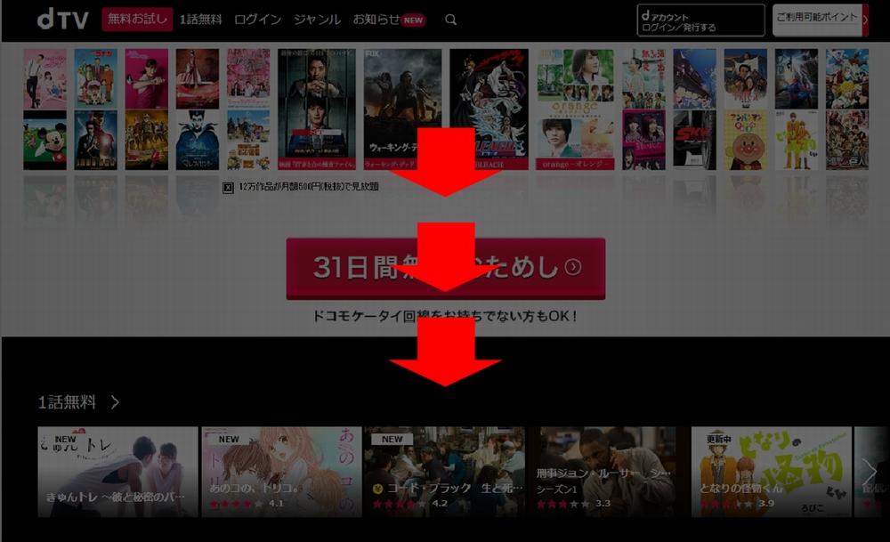 PCでのdTV動画の探し方(サイトトップページ)手順1-2